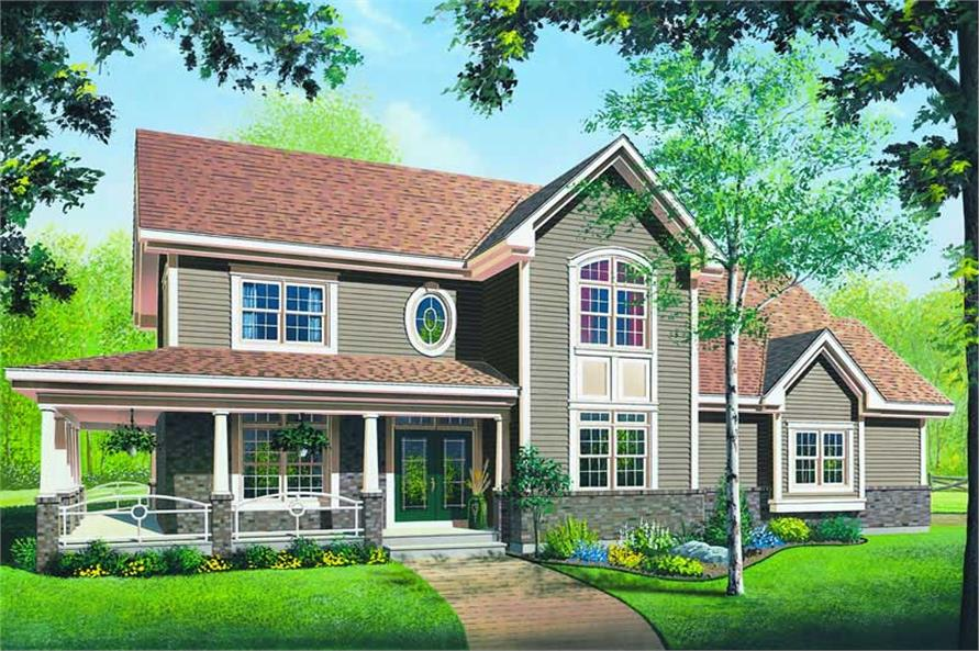 4-Bedroom, 2628 Sq Ft Country House Plan - 126-1165 - Front Exterior