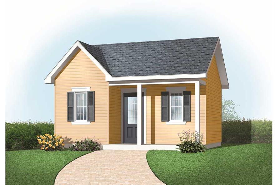 This image was created by a computer to show the front elevation of these Small House Plans.