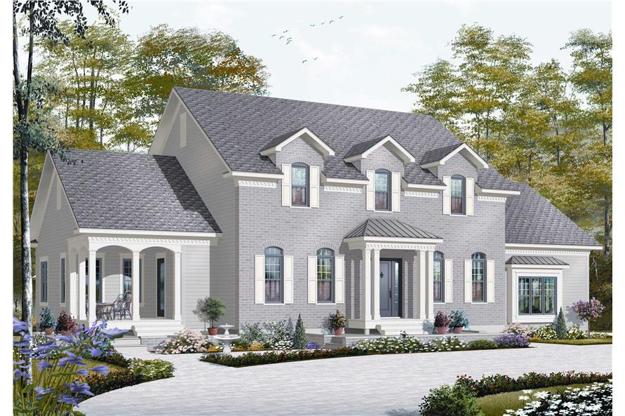 #126 1168 · 5 Bedroom, 3126 Sq Ft Colonial House Plan   126 1168   Front