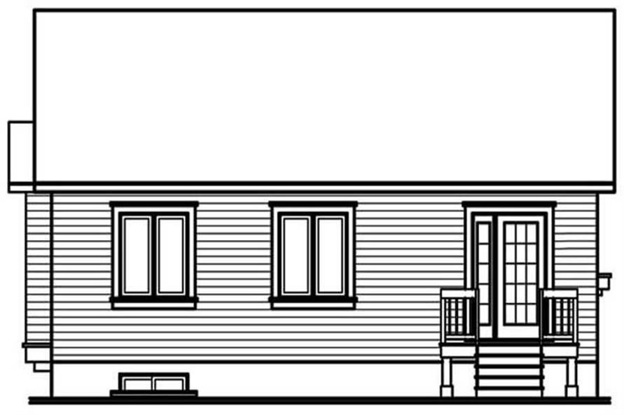 Home Plan Rear Elevation of this 3-Bedroom,1090 Sq Ft Plan -126-1175