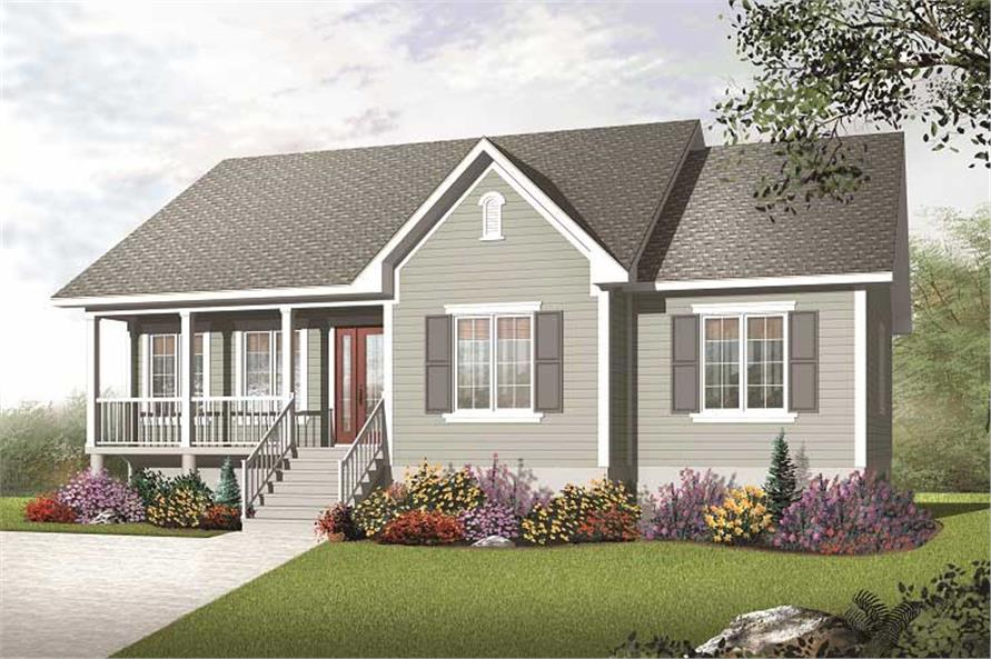 This image shows the front elevation for these traditional country homeplans.