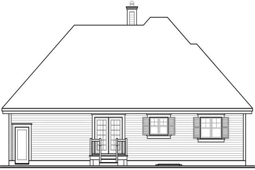Home Plan Rear Elevation of this 2-Bedroom,1243 Sq Ft Plan -126-1183