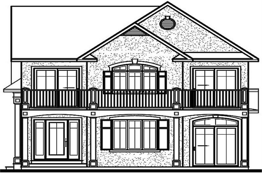 Home Plan Rear Elevation of this 3-Bedroom,2005 Sq Ft Plan -126-1184