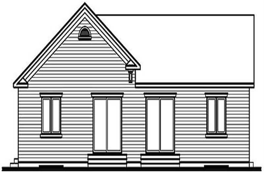 Home Plan Rear Elevation of this 2-Bedroom,946 Sq Ft Plan -126-1187
