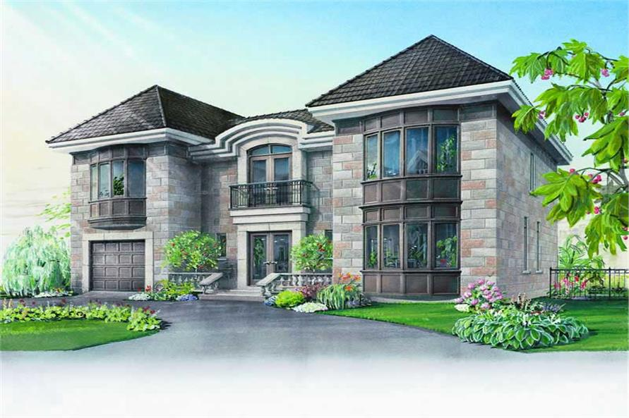 Home Plan Front Elevation of this 3-Bedroom,2888 Sq Ft Plan -126-1190