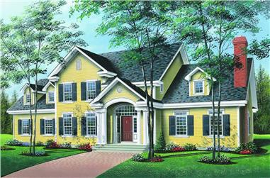 4-Bedroom, 3509 Sq Ft Country Home Plan - 126-1191 - Main Exterior
