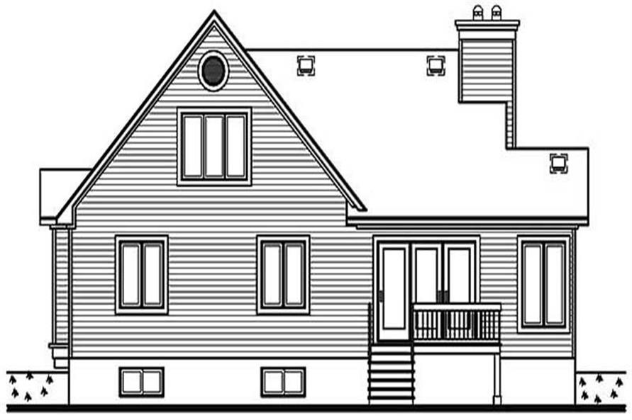 Home Plan Rear Elevation of this 2-Bedroom,1332 Sq Ft Plan -126-1192