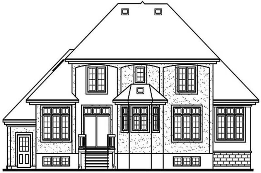 Home Plan Rear Elevation of this 3-Bedroom,2404 Sq Ft Plan -126-1202