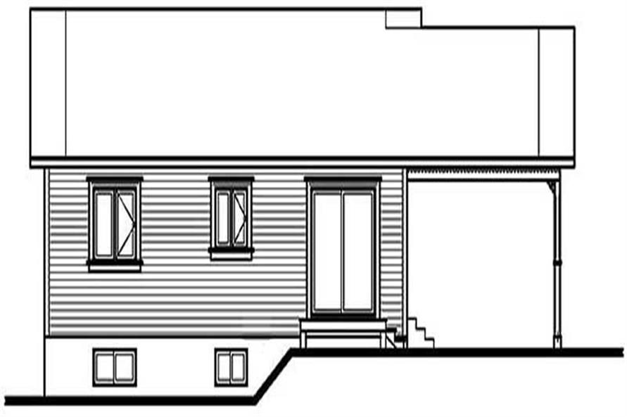 Home Plan Rear Elevation of this 2-Bedroom,947 Sq Ft Plan -126-1206