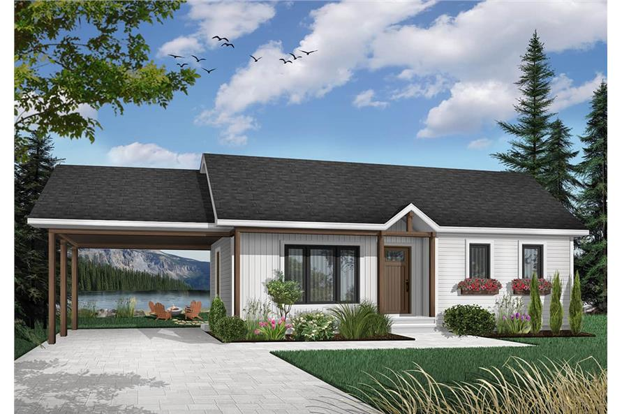 Home Plan Rendering of this 2-Bedroom,947 Sq Ft Plan -126-1206