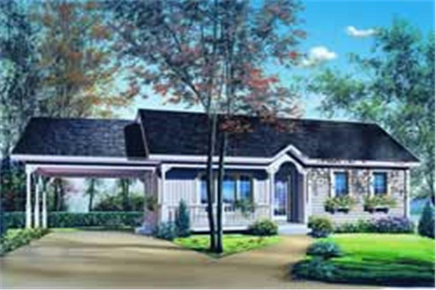 2-Bedroom, 947 Sq Ft Ranch Home Plan - 126-1206 - Main Exterior
