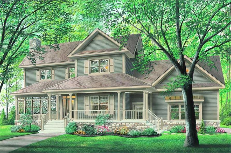 3-Bedroom, 2089 Sq Ft Country Home Plan - 126-1212 - Main Exterior