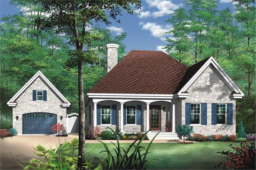 2-Bedroom, 1072 Sq Ft Bungalow House Plan - 126-1213 - Front Exterior