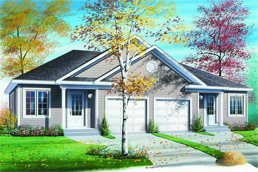 Front elevation of Multi-Unit home (ThePlanCollection: House Plan #126-1214)