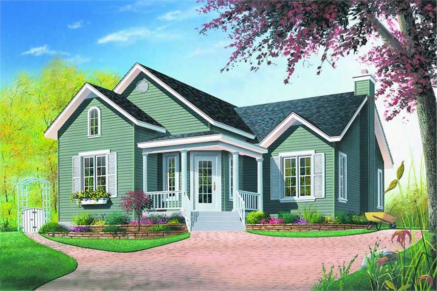 2-Bedroom, 1006 Sq Ft Contemporary House Plan - 126-1220 - Front Exterior