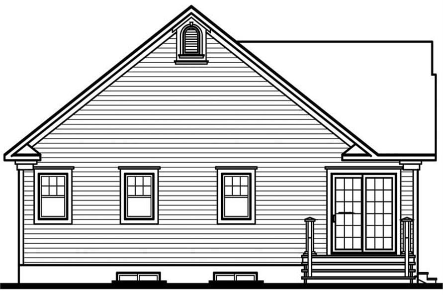 Home Plan Rear Elevation of this 2-Bedroom,1124 Sq Ft Plan -126-1221