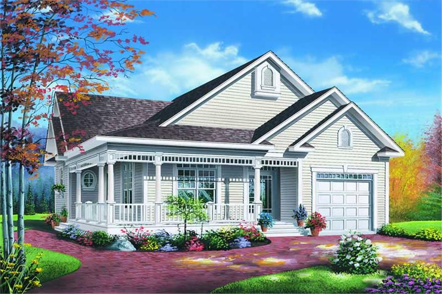 2-Bedroom, 1124 Sq Ft Country House Plan - 126-1221 - Front Exterior