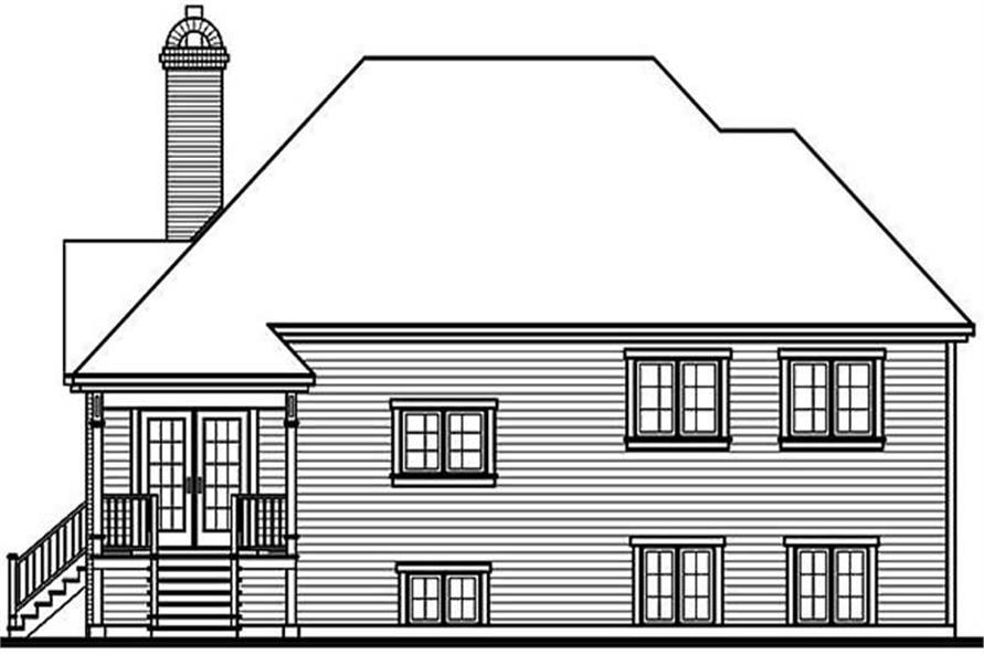 Home Plan Rear Elevation of this 3-Bedroom,1328 Sq Ft Plan -126-1226
