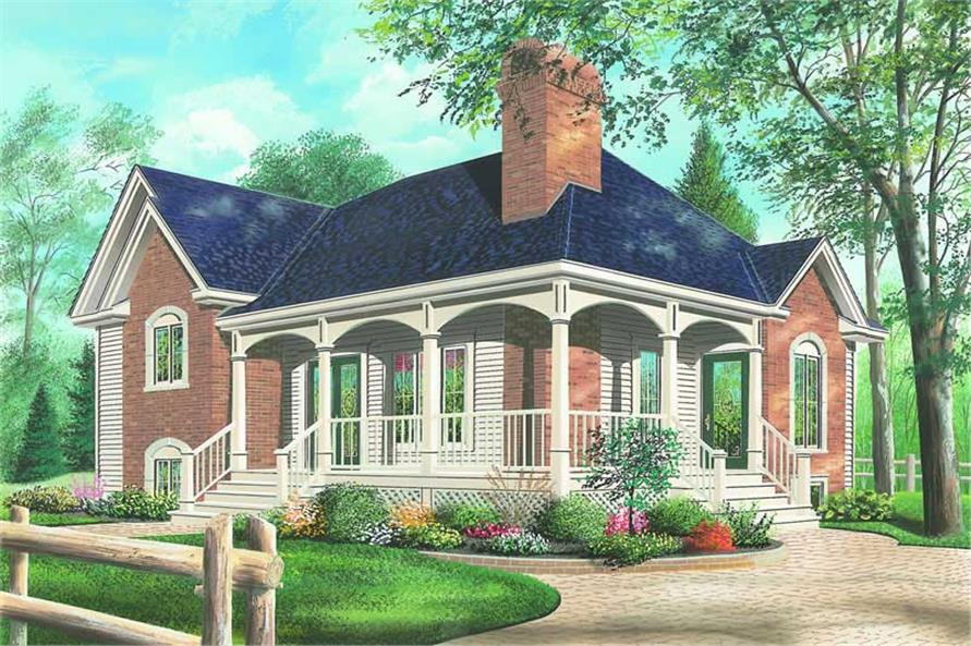 3-Bedroom, 1328 Sq Ft Country House Plan - 126-1226 - Front Exterior