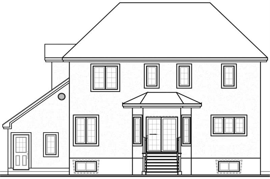 Home Plan Rear Elevation of this 3-Bedroom,2091 Sq Ft Plan -126-1228