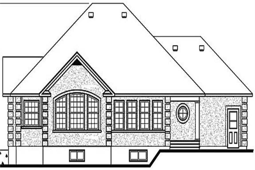 Home Plan Rear Elevation of this 3-Bedroom,1736 Sq Ft Plan -126-1229