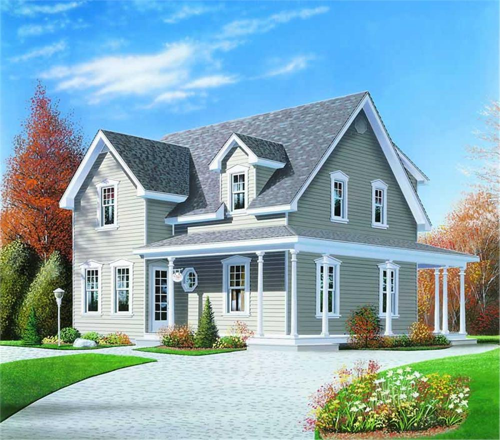 Front elevation of Country home (ThePlanCollection: House Plan #126-1231)