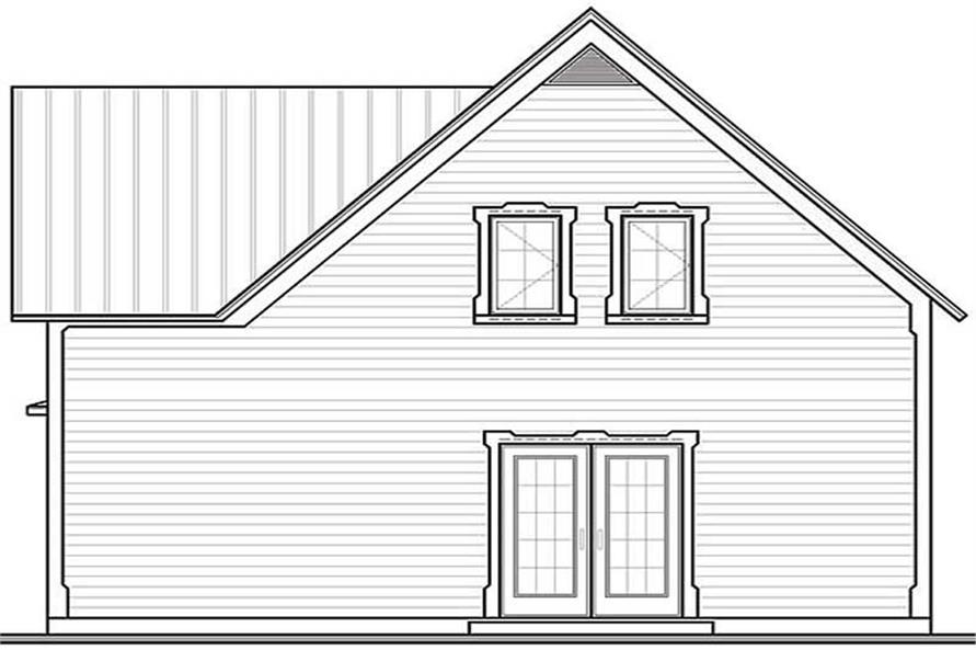 Home Plan Rear Elevation of this 2-Bedroom,1246 Sq Ft Plan -126-1232