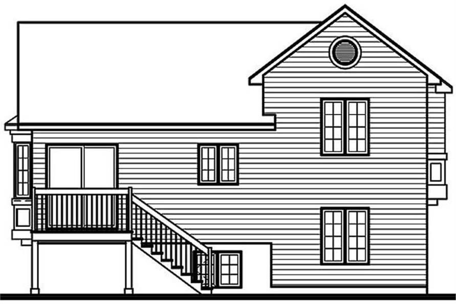 Home Plan Rear Elevation of this 3-Bedroom,1109 Sq Ft Plan -126-1234
