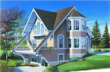 2-Bedroom, 1324 Sq Ft Contemporary House Plan - 126-1236 - Front Exterior