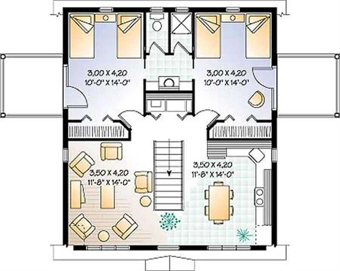 Garage, Vacation Homes, Country, Ranch, Farmhouse House Plans - Home Design  # 4104