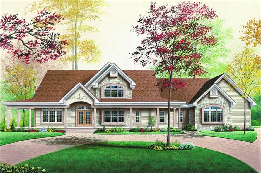3-Bedroom, 2760 Sq Ft Ranch House Plan - 126-1239 - Front Exterior