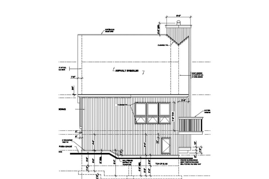 Home Plan Left Elevation of this 3-Bedroom,1077 Sq Ft Plan -126-1242