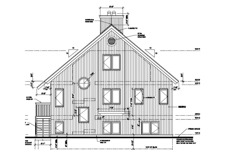 Home Plan Rear Elevation of this 3-Bedroom,1077 Sq Ft Plan -126-1242