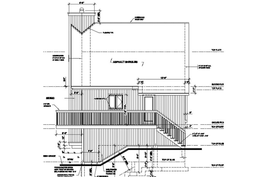 Home Plan Right Elevation of this 3-Bedroom,1077 Sq Ft Plan -126-1242