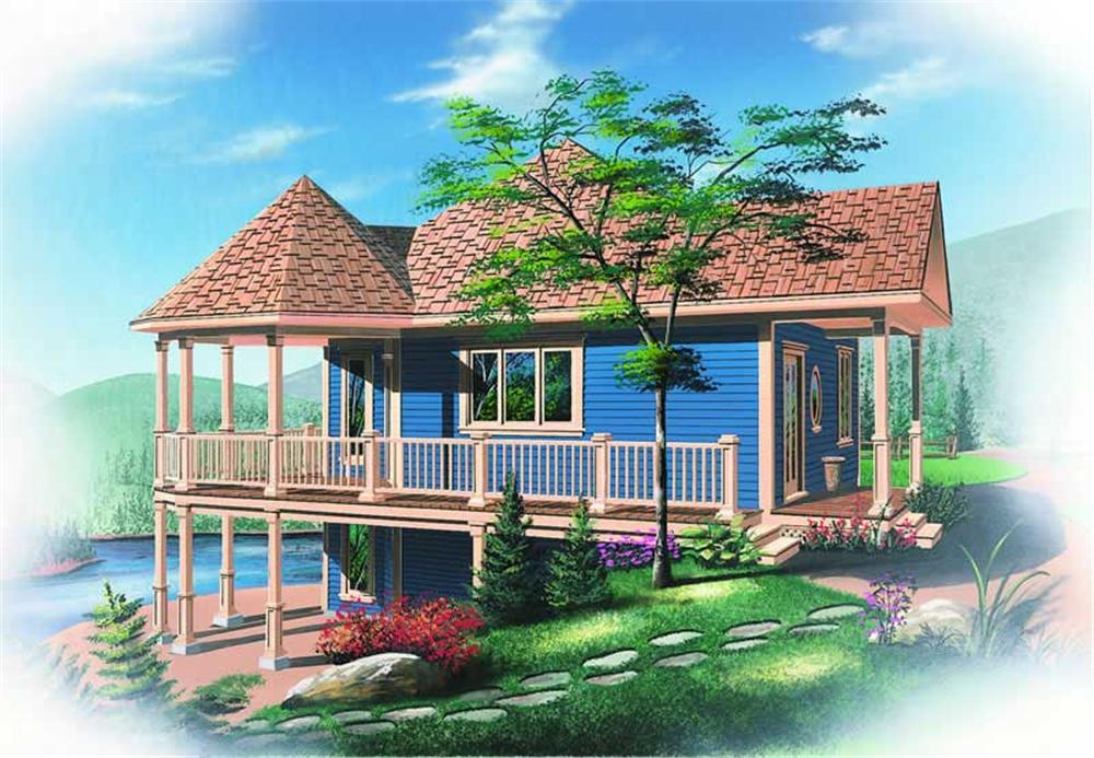 Front elevation of Coastal home (ThePlanCollection: House Plan #126-1243)