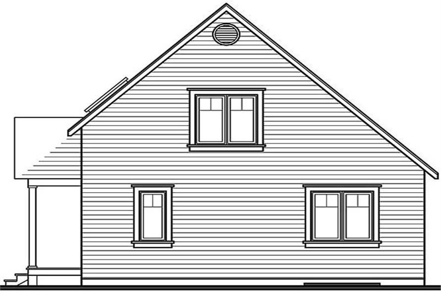 Home Plan Rear Elevation of this 3-Bedroom,1168 Sq Ft Plan -126-1244
