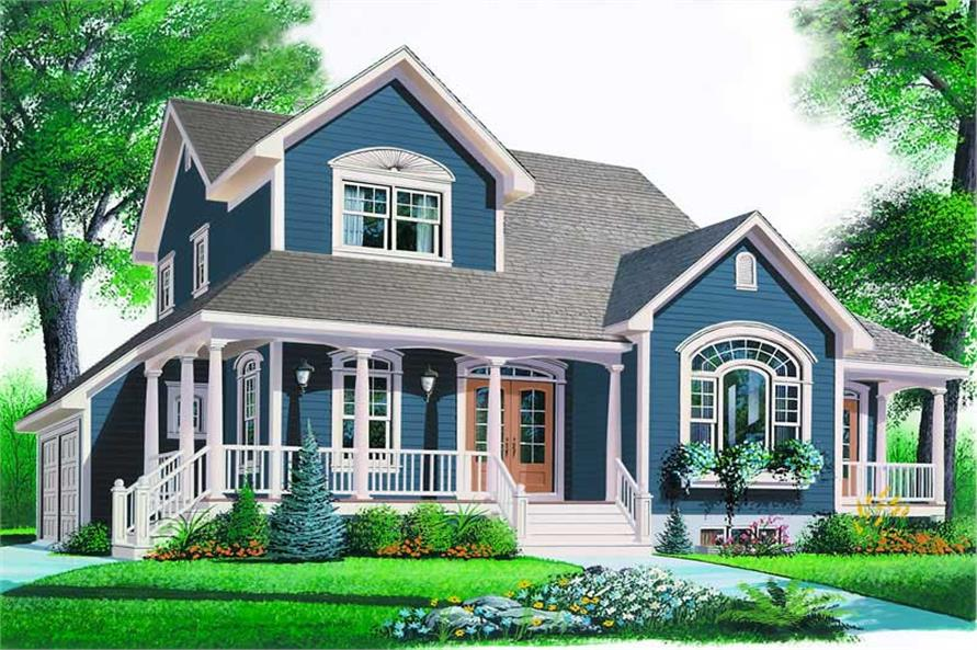 3-Bedroom, 2426 Sq Ft Country House Plan - 126-1246 - Front Exterior