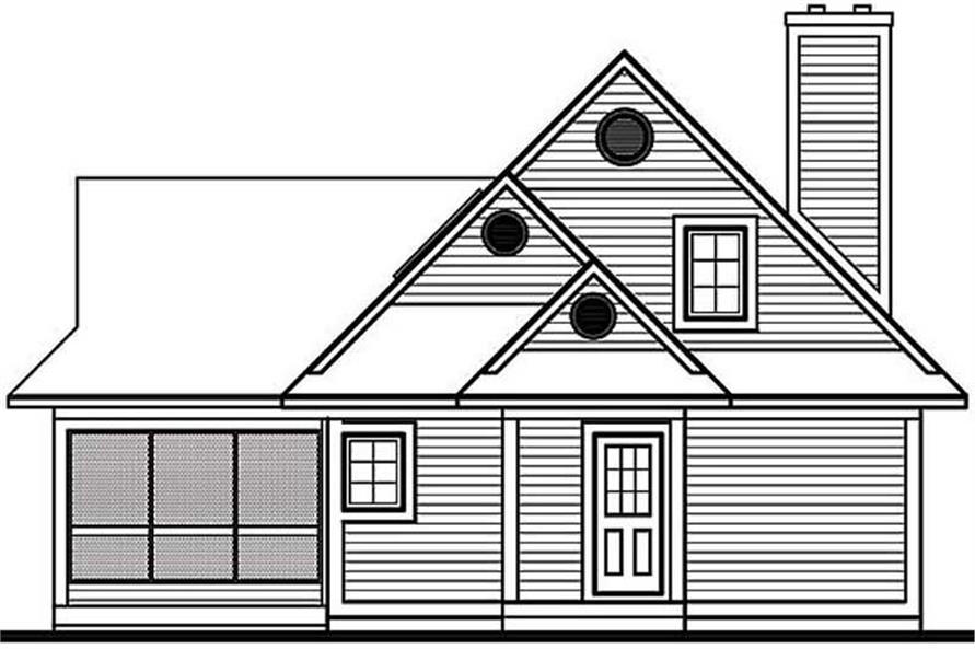 Home Plan Rear Elevation of this 2-Bedroom,1460 Sq Ft Plan -126-1247