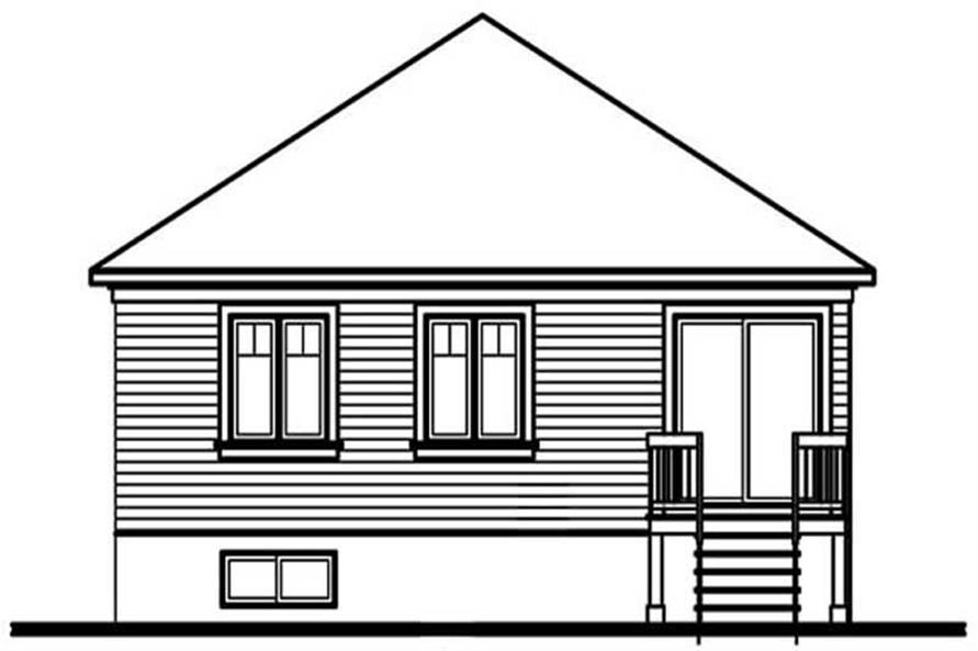 Home Plan Rear Elevation of this 3-Bedroom,1131 Sq Ft Plan -126-1251