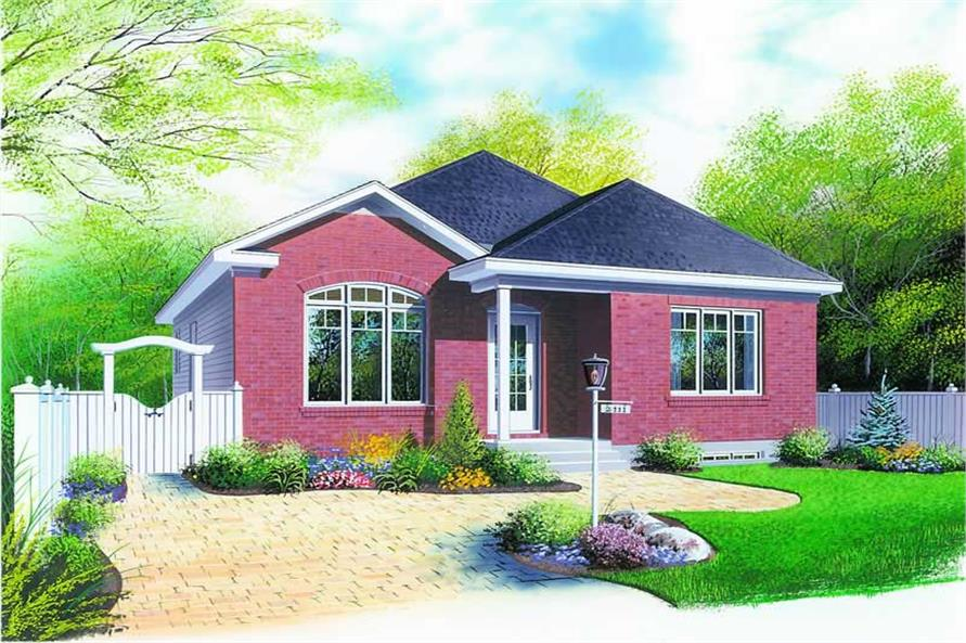3-Bedroom, 1131 Sq Ft Bungalow House Plan - 126-1251 - Front Exterior