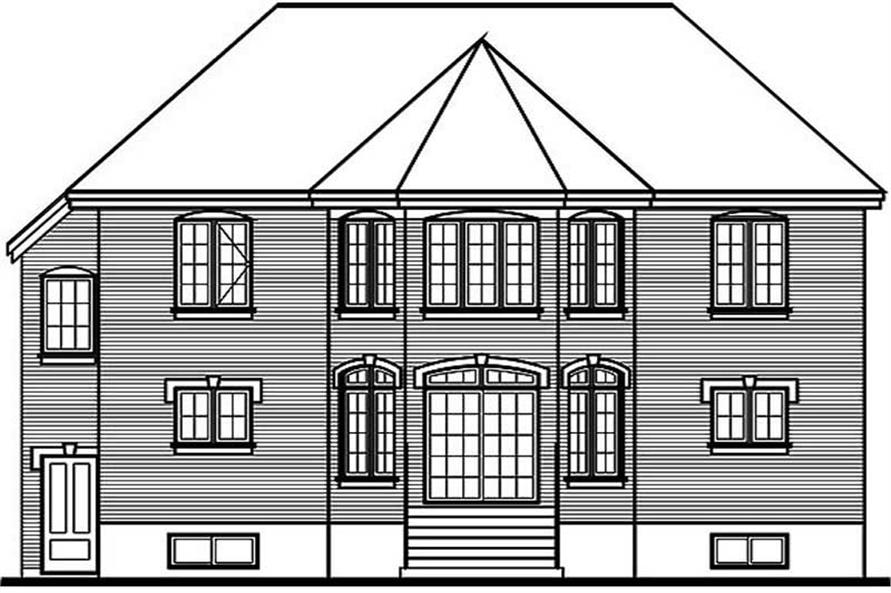 Home Plan Rear Elevation of this 4-Bedroom,2663 Sq Ft Plan -126-1257