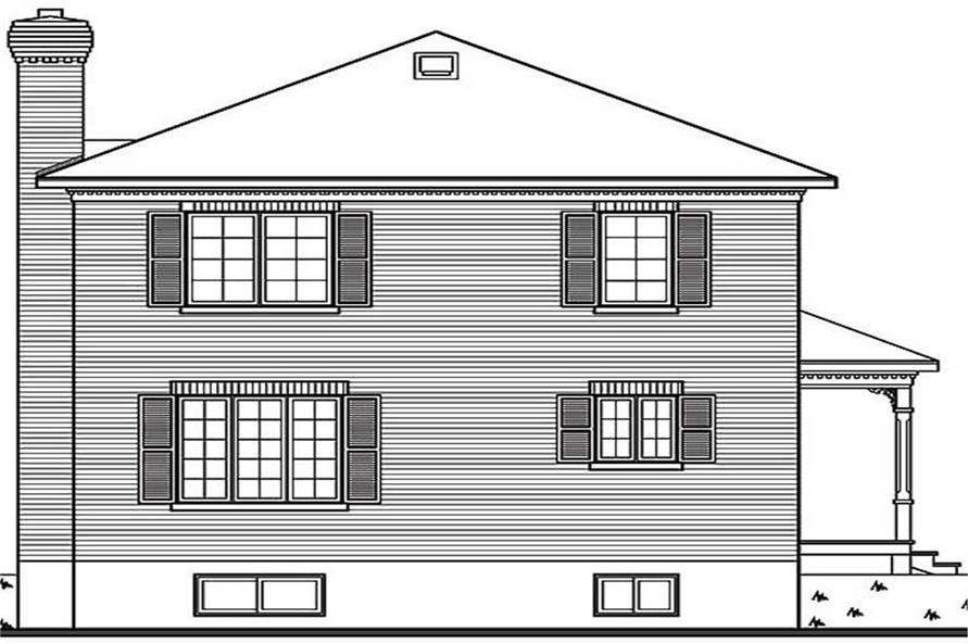 Home Plan Rear Elevation of this 3-Bedroom,1560 Sq Ft Plan -126-1260