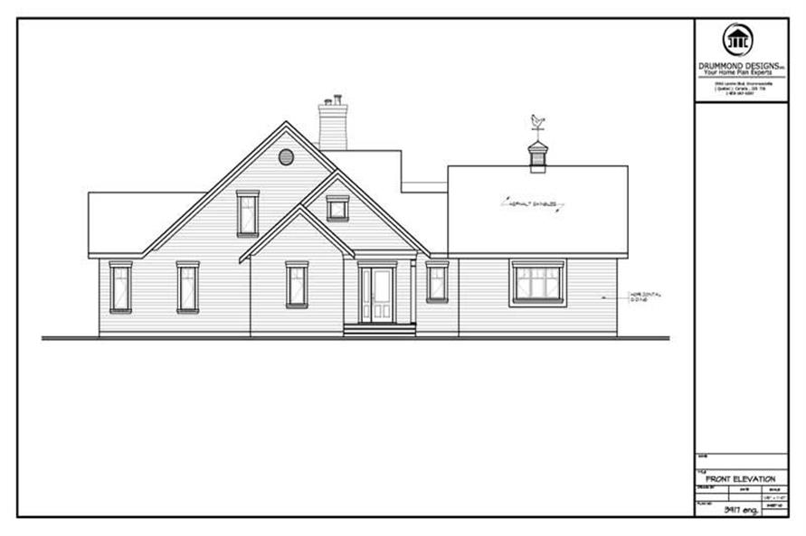 Home Plan Front Elevation of this 4-Bedroom,1916 Sq Ft Plan -126-1262