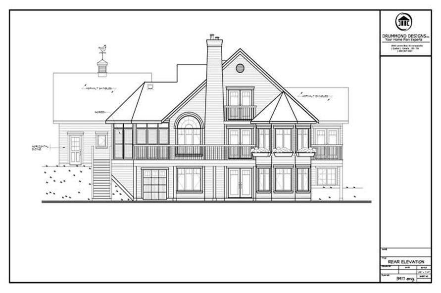 Home Plan Rear Elevation of this 4-Bedroom,1916 Sq Ft Plan -126-1262