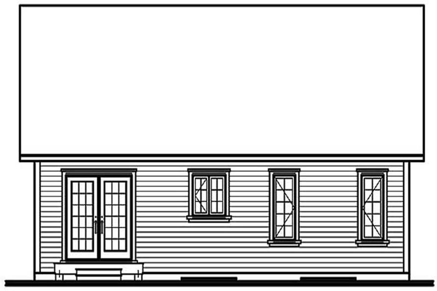 Home Plan Rear Elevation of this 2-Bedroom,1079 Sq Ft Plan -126-1264