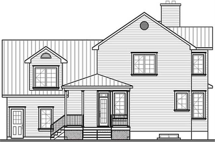 Home Plan Rear Elevation of this 3-Bedroom,2175 Sq Ft Plan -126-1266