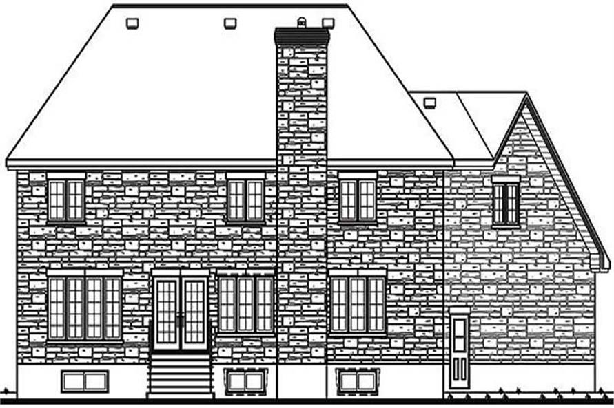 Home Plan Rear Elevation of this 5-Bedroom,3134 Sq Ft Plan -126-1267