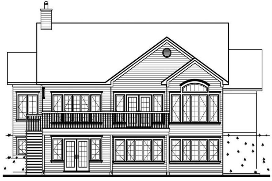 Home Plan Rear Elevation of this 4-Bedroom,2812 Sq Ft Plan -126-1268