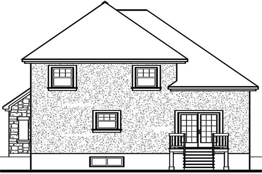 Home Plan Rear Elevation of this 3-Bedroom,1460 Sq Ft Plan -126-1269