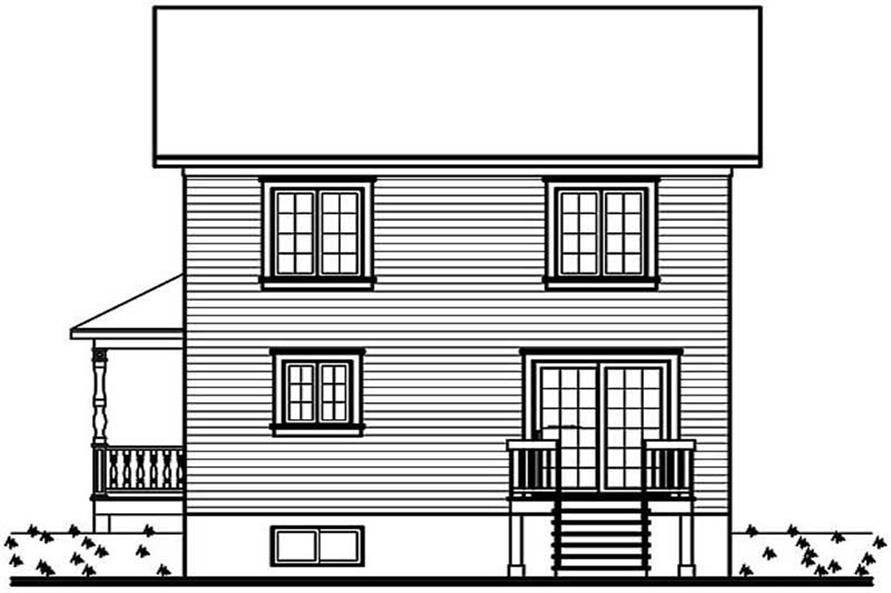 Home Plan Rear Elevation of this 3-Bedroom,1286 Sq Ft Plan -126-1270